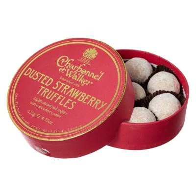 Charbonnel - Strawberry Truffles (135g) - Charbonnel et Walker strawberry truffles are filled with strawberry flavour, resulting in a truffle so delicious that you would think you were eating freshly picked strawberries! They are rich chocolate truffles filled with the delightful summer flavours of strawberries and cream. Perfect for Wimbledon, picnics or Summer garden parties.