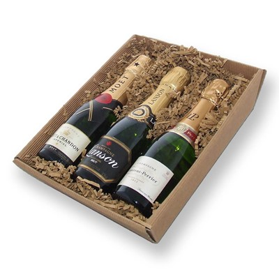 Buy this Mini Laurent-Perrier, Mini Lanson and Mini Moet set comprising of 3 x 20cl bottles each presented in a hand packed reusable basket.