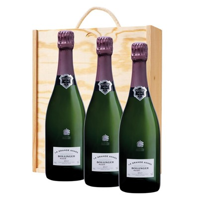 3 x Bollinger Grande Annee, Rose, 2007 Vintage Champagne In A Pine Wooden Gift Box