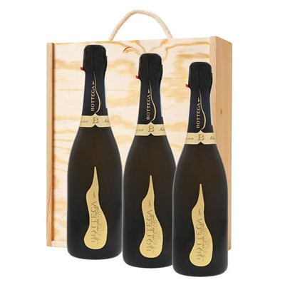 3 x Bottega Vino dei Poeti Prosecco DOC 75cl In A Pine Wooden Gift Box