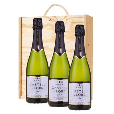 3 x Castell Llord Brut Cava  75cl In A Pine Wooden Gift Box