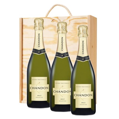 3 x Chandon Brut Sparkling Wine 75cl In A Pine Wooden Gift Box