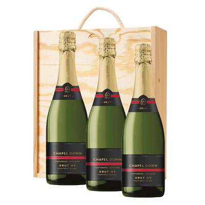 3 x Chapel Down Brut NV English Sparkling Wine 75cl In A Pine Wooden Gift Box