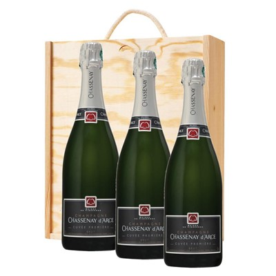 3 x Chassenay d'Arce Cuvee Premiere Brut Champagne 75cl In A Pine Wooden Gift Box