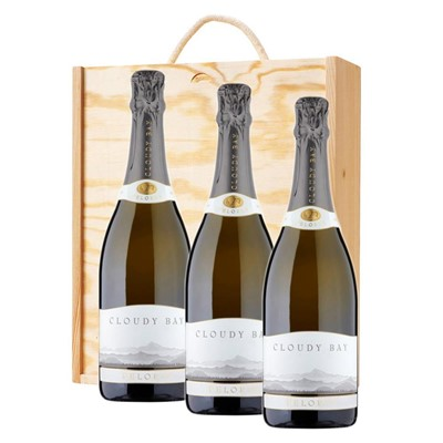 3 x Cloudy Bay Pelorus Sparkling Wine 75cl In A Pine Wooden Gift Box