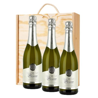 3 x Emotivo Prosecco 75cl In A Pine Wooden Gift Box