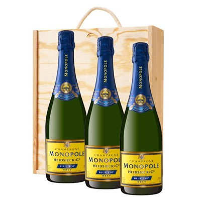 3 x Heidsieck & Co. Monopole Blue Top Brut Champagne 75cl In A Pine Wooden Gift Box
