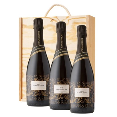 3 x Hoffmann And Rathbone Classic Cuvee In A Pine Wooden Gift Box