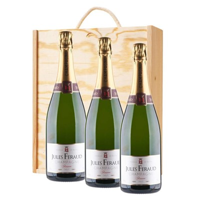 3 x Jules Feraud Brut Champagne 75cl In A Pine Wooden Gift Box