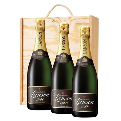 3 x Lanson Black Label Brut Champagne 75cl In A Pine Wooden Gift Box