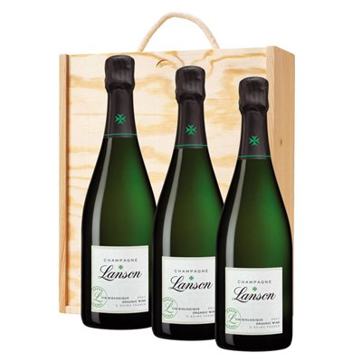 3 x Lanson Green Label Organic Champagne 75cl In A Pine Wooden Gift Box