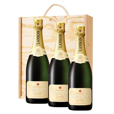 3 x Lanson Ivory Label Demi-Sec Champagne 75cl In A Pine Wooden Gift Box