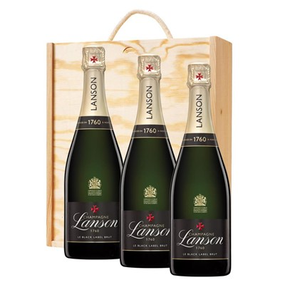 3 x Lanson Le Black Label Brut Champagne 75cl In A Pine Wooden Gift Box
