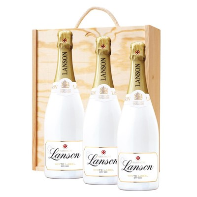 3 x Lanson White Label NV Champagne 75cl In A Pine Wooden Gift Box