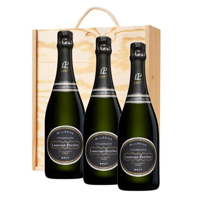3 x Laurent  Perrier Brut 2008 Vintage Champagne In A Pine Wooden Gift Box