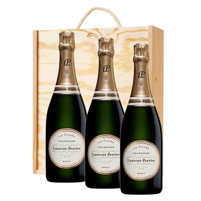 3 x Laurent  Perrier La Cuvee Brut Champagne 75cl In A Pine Wooden Gift Box