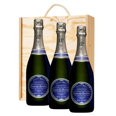 3 x Laurent  Perrier Ultra Brut Champagne 75cl In A Pine Wooden Gift Box