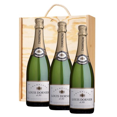 3 x Louis Dornier and Fils Champagne 75cl In A Pine Wooden Gift Box