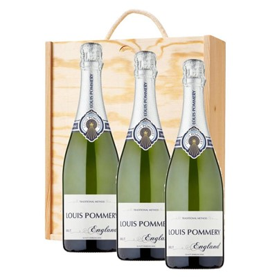 3 x Louis Pommery 75cl Brut England In A Pine Wooden Gift Box