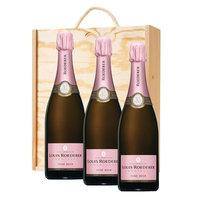 3 x Louis Roederer 2012 Brut Rose Vintage Champagne 75cl In A Pine Wooden Gift Box