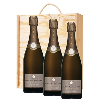 3 x Louis Roederer 2012 Brut Vintage Champagne 75cl In A Pine Wooden Gift Box