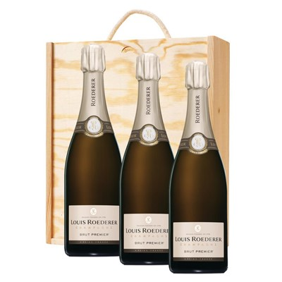3 x Louis Roederer Brut Premier Champagne 75cl In A Pine Wooden Gift Box