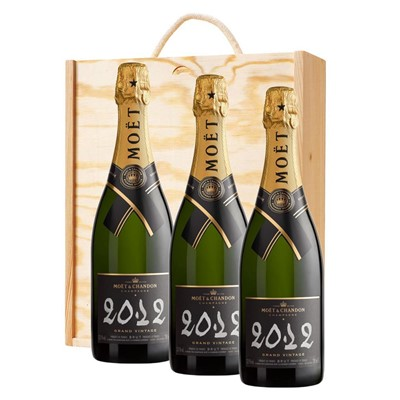 3 x Moet & Chandon 2012 Brut Vintage Champagne 75cl In A Pine Wooden Gift Box