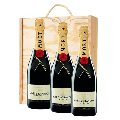 3 x Moet & Chandon Brut Champagne 75cl In A Pine Wooden Gift Box