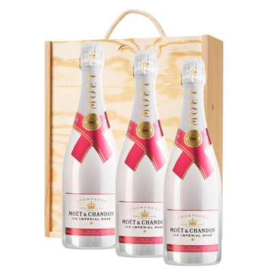 3 x Moet & Chandon Ice Imperial Rose Champagne 75cl In A Pine Wooden Gift Box