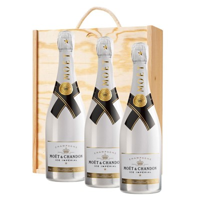 3 x Moet and Chandon Ice White Imperial Champagne 75cl In A Pine Wooden Gift Box