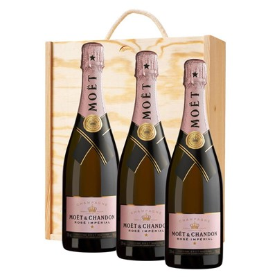 3 x Moet & Chandon Rose Champagne 75cl In A Pine Wooden Gift Box