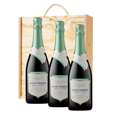 3 x Nyetimber Demi-Sec English Sparkling Wine 75cl In A Pine Wooden Gift Box
