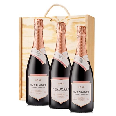 3 x Nyetimber Rose English Sparkling Wine 75cl In A Pine Wooden Gift Box
