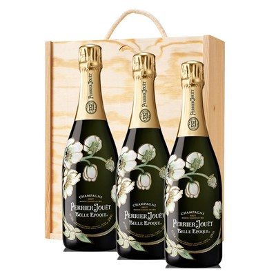 3 x Perrier Jouet Belle Epoque Brut 2012 Vintage Champagne 75cl In A Pine Wooden Gift Box
