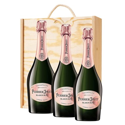 3 x Perrier Jouet Blason Rose Champagne 75cl In A Pine Wooden Gift Box