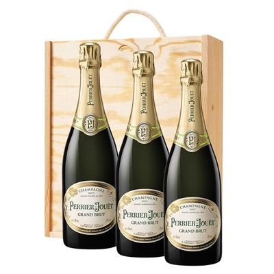 3 x Perrier Jouet Grand Brut Champagne 75cl In A Pine Wooden Gift Box