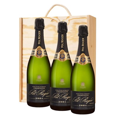 3 x Pol Roger 2012 Brut Vintage Champagne 75cl In A Pine Wooden Gift Box
