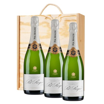 3 x Pol Roger Brut Reserve Champagne 75cl In A Pine Wooden Gift Box
