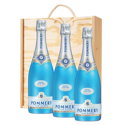 3 x Pommery Blue Sky Champagne 75cl In A Pine Wooden Gift Box