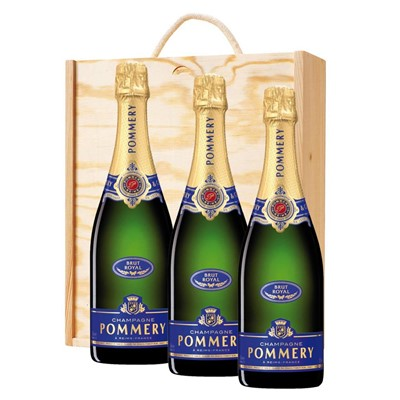 3 x Pommery Brut Royal Champagne 75cl In A Pine Wooden Gift Box
