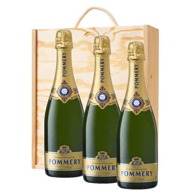 3 x Pommery Grand Cru Vintage Champagne 75cl In A Pine Wooden Gift Box