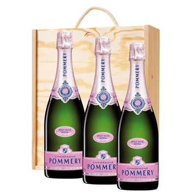 3 x Pommery Rose Brut Champagne 75cl In A Pine Wooden Gift Box