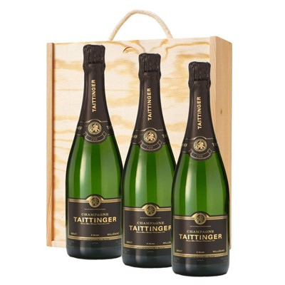 3 x Taittinger 2012 Brut Vintage Champagne 75cl In A Pine Wooden Gift Box