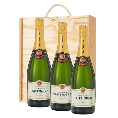 3 x Taittinger Brut Reserve Champagne 75cl In A Pine Wooden Gift Box