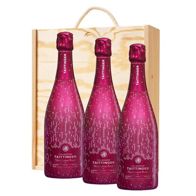 3 x Taittinger Nocturne Rose City Lights Edition In A Pine Wooden Gift Box