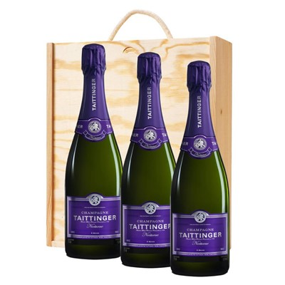 3 x Taittinger Nocturne Sec Champagne 75cl In A Pine Wooden Gift Box