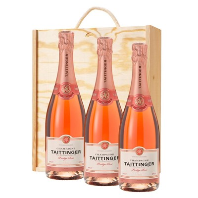 3 x Taittinger Prestige Rose Champagne 75cl In A Pine Wooden Gift Box