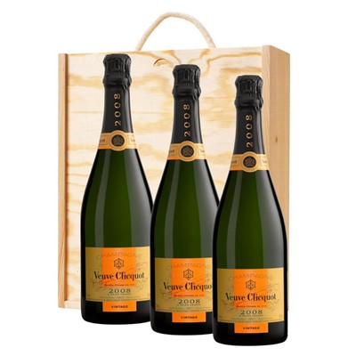 3 x Veuve Clicquot 2008 Brut Vintage Champagne 75cl In A Pine Wooden Gift Box