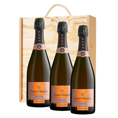 3 x Veuve Clicquot 2008 Vintage Rose Champagne 75cl In A Pine Wooden Gift Box