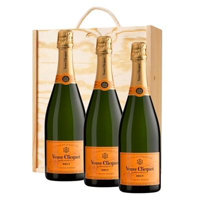 3 x Veuve Clicquot Brut Champagne 75cl In A Pine Wooden Gift Box